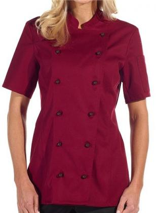 Damen-Kochjacke, 1/2 Arm bordeaux