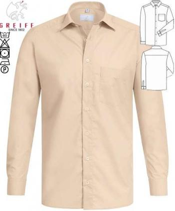 Greiff Herren-Hemd beige langarm Basic Regular Fit