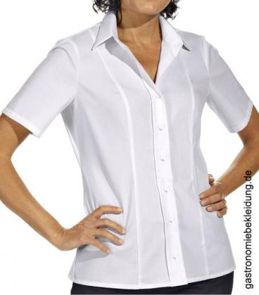 Damen Stretch Bluse weiß halbarm
