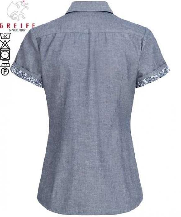 Damen Bluse kurzarm grau Flower Denim